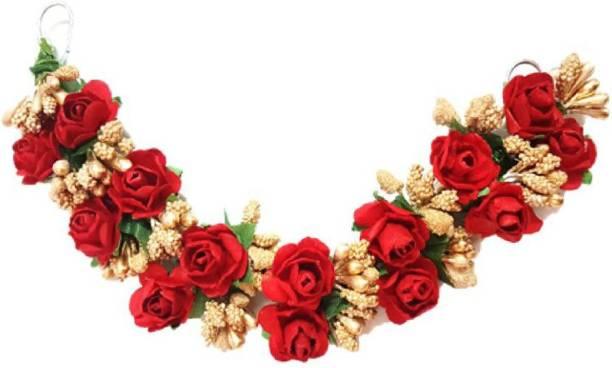 Fashion Factory Artificial Rose Fabric Gajra for Women and Girls 0003 Bun