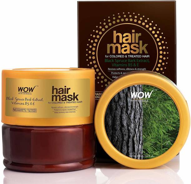 WOW SKIN SCIENCE Black Spruce Bark Extract, Vitamin B5 & E Hair Mask for Colored & Treated Hair