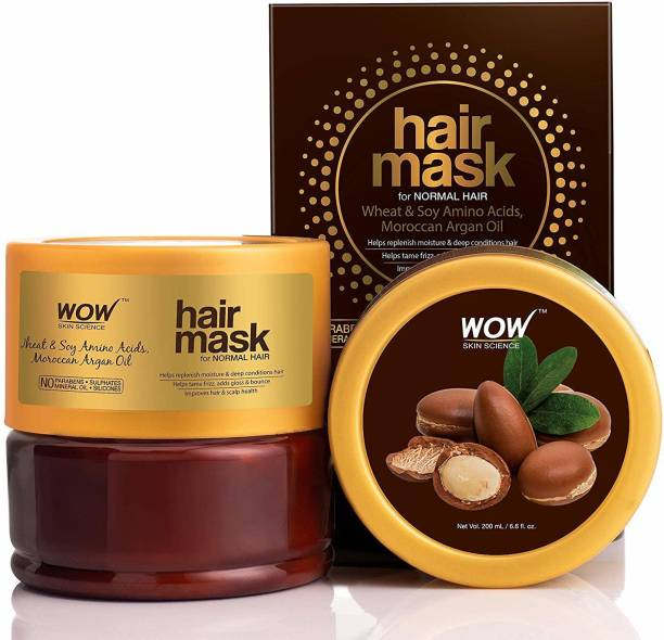 WOW SKIN SCIENCE Wheat & Soy Amino Acids, Moroccan Argan Oil Hair Mask for Normal Hair