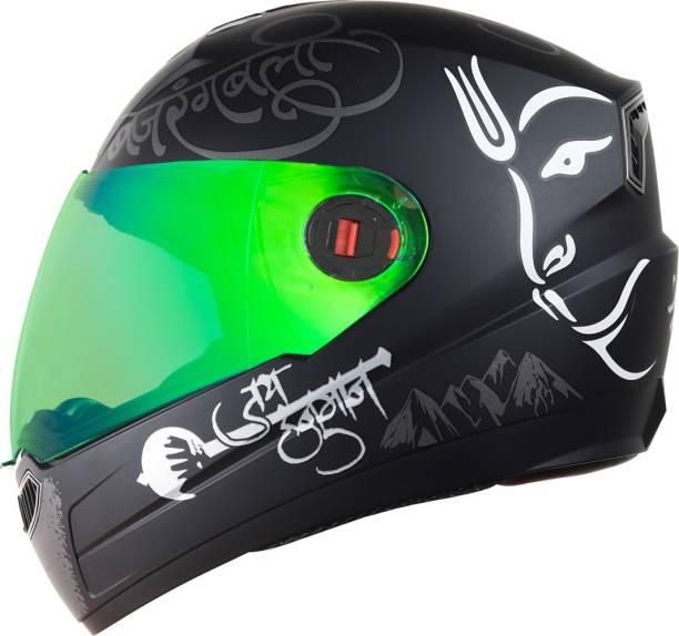 Steelbird Mahavir Orange with Night Vision Gold visor Motorbike Helmet