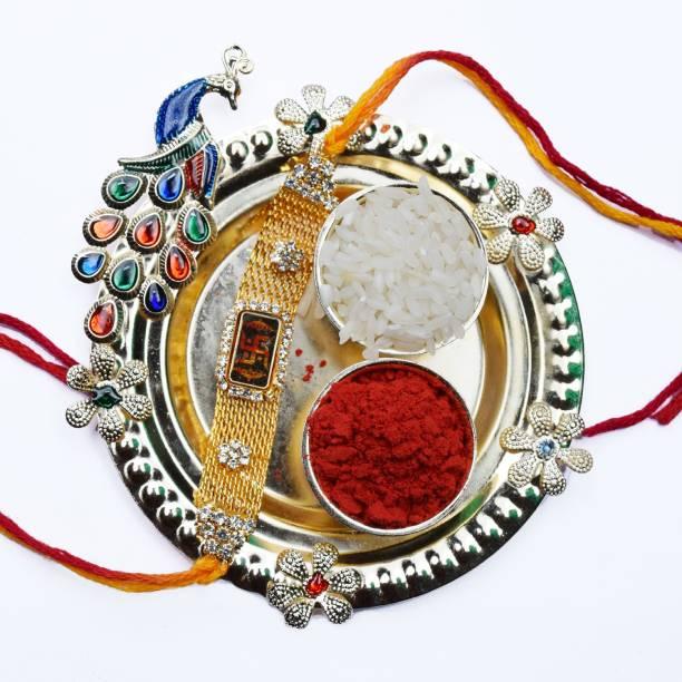 GW Creations Designer Thali, Chawal Roli Pack, Rakhi  Set