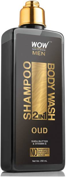 WOW SKIN SCIENCE Oud 2-in-1 Shampoo + Body Wash - No Parabens, Sulphate, Silicones & Color - 250mL