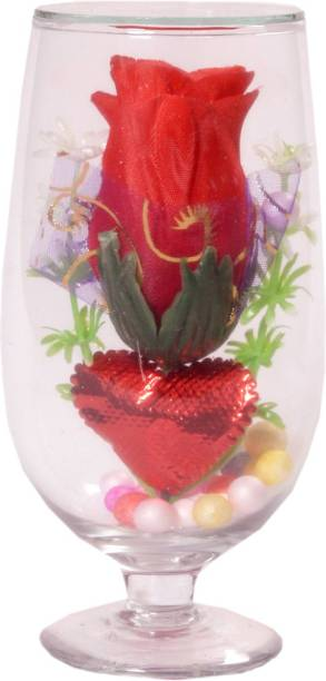mHS MEET HANDICRAFTS Valtntine day spacial gift Clear Rose Artificial Flower  with Pot