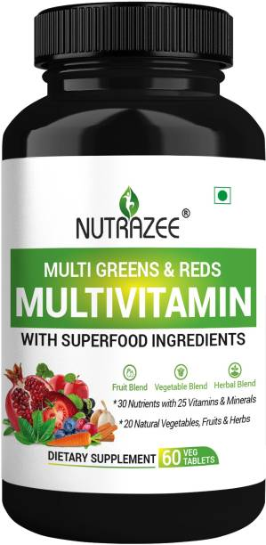 Nutrazee Multi Greens and Reds Multivitamin With Natural Food Ingredients for Men & Women