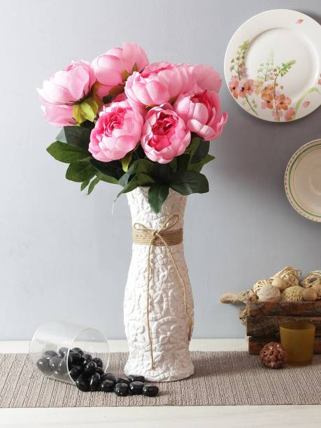 FOURWALLS Beautiful Artificial Peony Flower Bunch for Home décor (50 cm Tall, 9 Heads, Pink) Artificial Plant