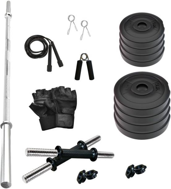 Adrenex by Flipkart 20 kg 20KG PVC Combo with ONE 4 FT Plain Rod and ONE Pair Dumbbell RODS Comes with Accessories Home Gym Combo