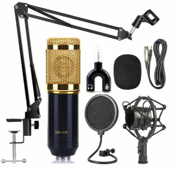 Techtest BM-800 Mic Kit Adjustable Mic Suspension Scissor Arm, Plastic Shock Condenser Studio Microphone, ( Metal Stand NB-35 + Microphone Pop Filter + Microphone BM800 Golden )