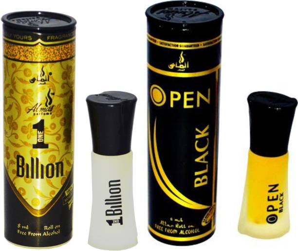 Almas 1 BILLION and OPEN BLACK UAE fascinating fragrance pocket ( PACK OF 2 ) Floral Attar