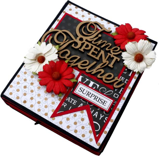 Crafted with passion Handmade Scrapbook Sweet Memories for Birthday / Anniversary / Wedding / All Occasion (Red and Black) Greeting Card