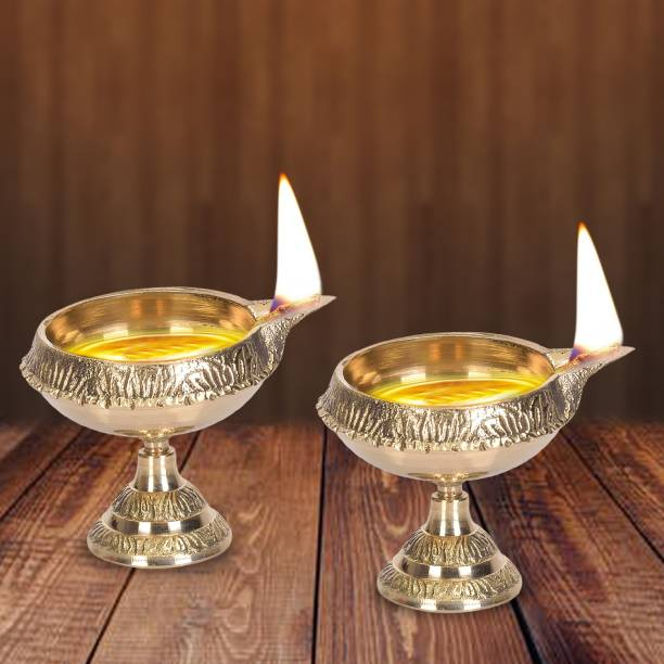 DreamKraft Brass Diwali Kuber Deepak On Stand (Diya Oil Lamp) For Puja Home Décor Brass (Pack of 2) Table Diya Set