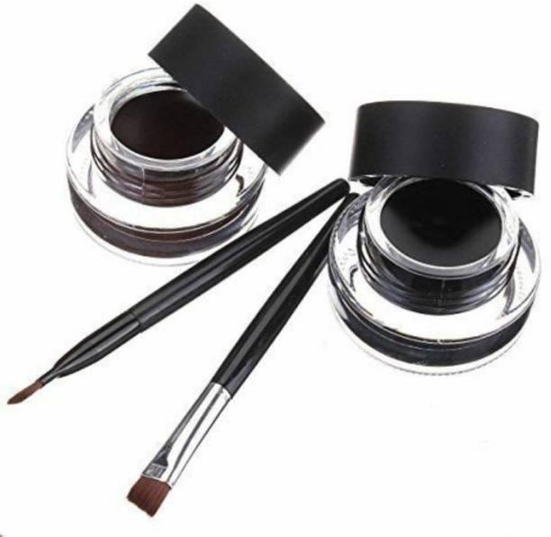 SKINPLUS 2 in 1 brown & Black Water Proof & Smudge Proof 24hrs Gel Eyeliner 6 g