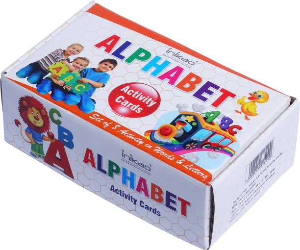 Inikao Alphabet Activity Cards : Set of 8 Words and Letters Activity for Pre-School Learning