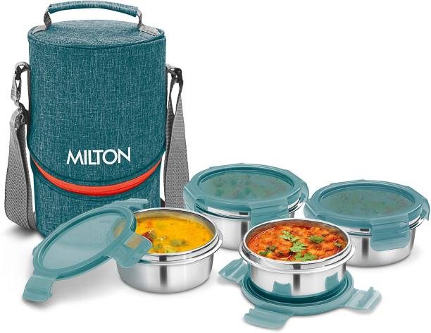MILTON CHIC-4 Stainless Steel Tiffin Lunch Box with 4 Containers, 300 ml each, Green 4 Containers Lunch Box