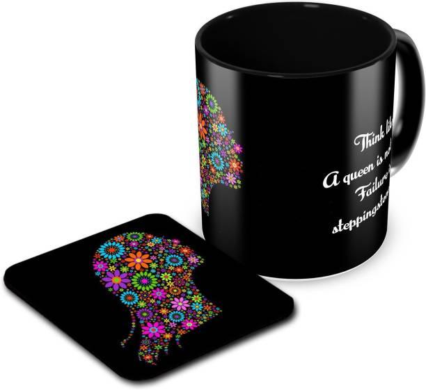 Tuelip Printed Think Like A Queen Tea & Coffee Ceramic With Tea Coaster Combo Ceramic Coffee Mug