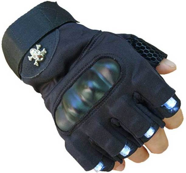 Mototrance Half-Finger Laser With White Lights LED Lunous Biker Gloves Riding Gloves