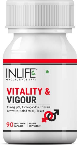 Inlife Vitality Supplement Atmagupta, Ashwagandha, Tribulus Terrestris, Safed Musli, Shilajit Product for Men Women - 90 Veg Caps (1 Pack)