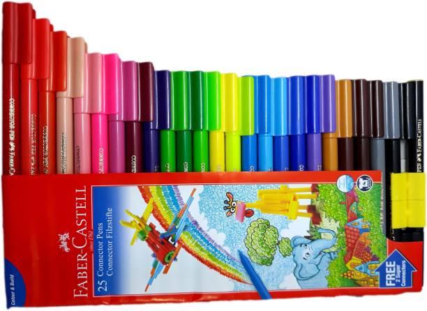 FABER-CASTELL 25 Connector Sketch Pen Super Fine Nib Sketch Pens  with Washable Ink