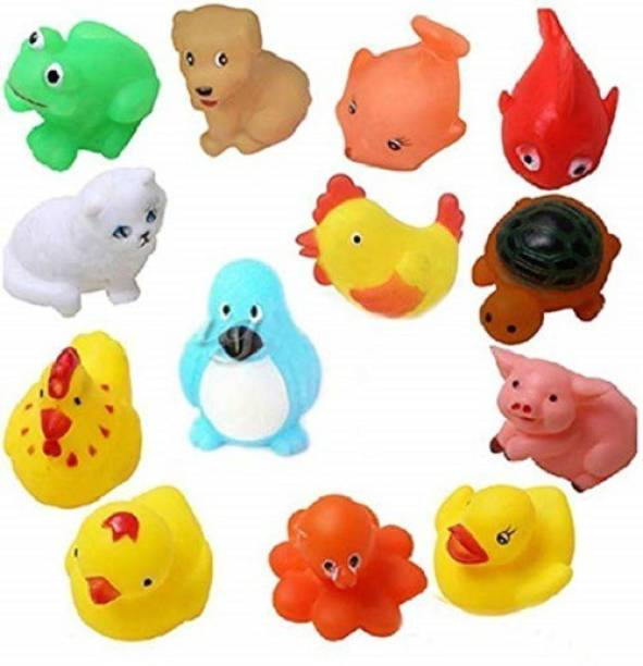 Noxxi 12pcs Random Lovely Squeaky Animal Bath Toys/floating for Baby Bath Toy