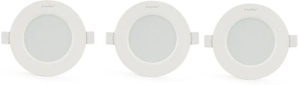 Klick Set Of Three 6-Watt LED Down Light Energy & Money Saving Light - ( Pack Of 3, White) Flush Mount Ceiling Lamp