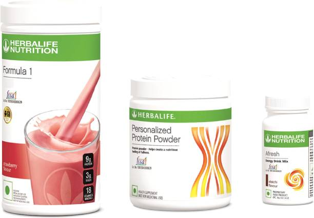 HERBALIFE Strawberry Shake & Personalized Protein 200 & Afresh Elaichi Combo