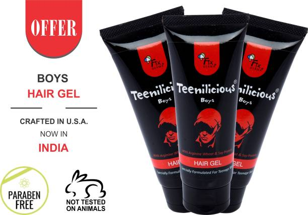 Teenilicious Men's and Boys Hair Styling Gel With Soy Protein For Strong Hold & Keratin Hair Gel