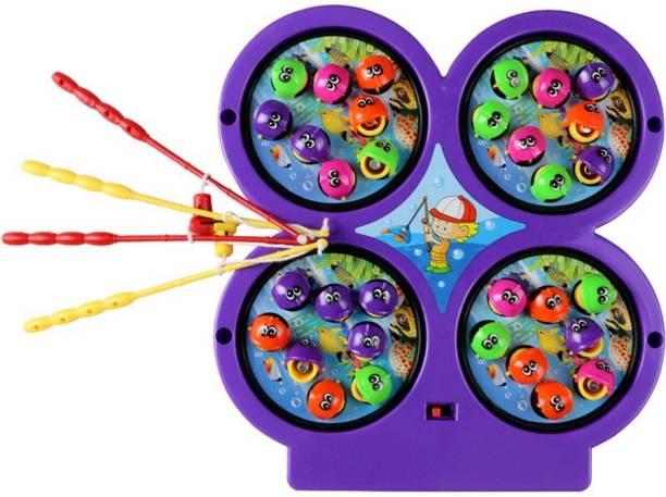 CrazyBuy Magnetic Fishing Game Board Set Fun Game (4 Fishing Rods , 32 Fish)