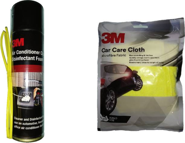 3M 1 Bottle of Air Conditioner Cleaner and Disinfectant Foam, 1 Microfibre Cloth Size 30.48 cm x 35.56 cm Combo