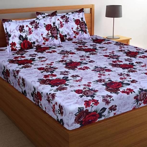 H18 SHEET 160 TC Microfiber Double Floral Bedsheet