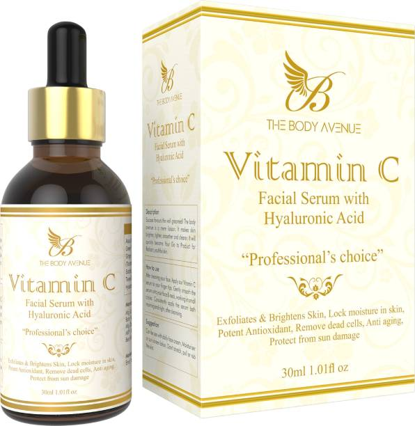 The Body Avenue Vitamin C Skin Brightening, Anti Aging, Spotless Skin,Sun Protection, Under Eye Circles, Facial Serum with Vitamin E and Hyaluronic Acid