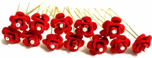 ANNA CREATIONS Beautiful rhinestone rose Hair Jewelry Bridal Hair Pin Juda Pins Hair Pin