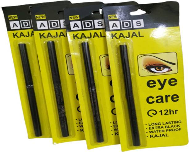 ads kajal Long Lasting Extra Black Waterproof combo pack of 4