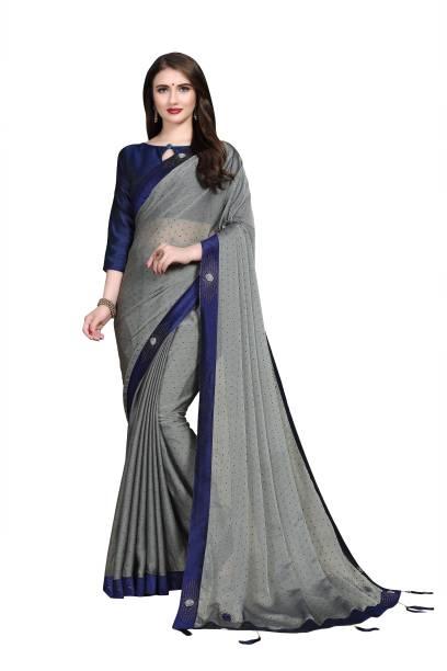 Sanku Fashion Embellished, Solid Fashion Chiffon, Poly Silk Saree