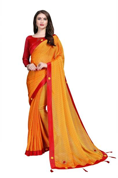 Sanku Fashion Embellished, Solid Bollywood Chiffon, Poly Silk Saree