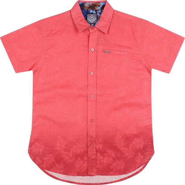 Palm Tree Baby Boys Self Design Casual Red Shirt