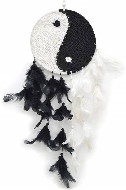 Ryme Unique Beatiful Ying Yang (White & Black) Dream Catcher For Decor Wall Hnging Showpiece Wool Dream Catcher