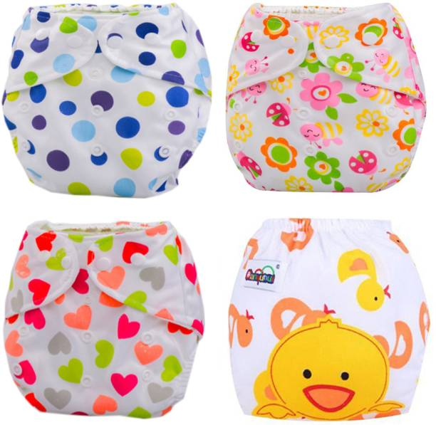 BABYMOON Washable Baby Diaper Premium Cloth Diaper Reusable, Adjustable Size, Waterproof, Pocket Cloth Diaper Nappie (Without Insert) (Pack of 4, ( Floral, Polka Dots, Duck & Love ))