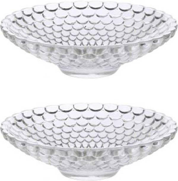Gifts & Decor Gifts & Decor Designer Italian Crsytal Glass Fruit Plate Bowl Bubble Pattern, 24Cm , Pack of 2 Glass Fruit & Vegetable Basket