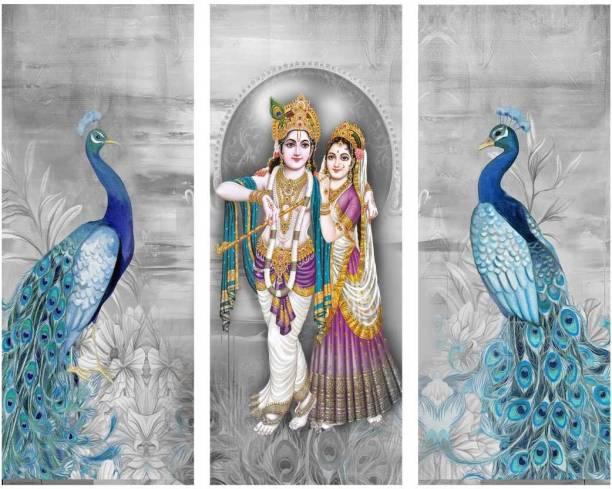 Wrap Up Box Amazing Radha Krishan with Peacock three Piece MDF Painting Digital Reprint 15 inch x 18 inch Painting