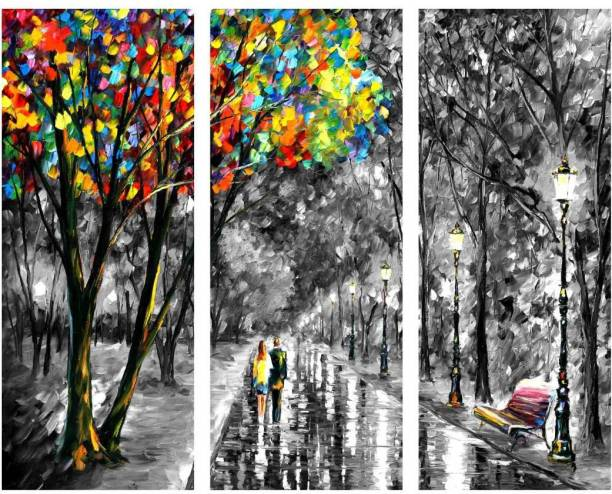 Couple walk in rainy weather 3 piece MDF Poster Paper Print