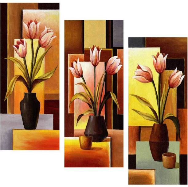 Beautiful flower with vase in abstract background 3 Piece MDF Poster Paper Print