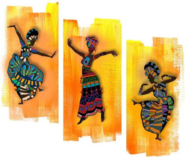 Art Amori African dance culture 3 piece MDF Digital Reprint 15 inch x 18 inch Painting
