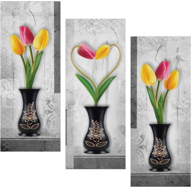Tulip flower art 3 piece MDF Poster Paper Print