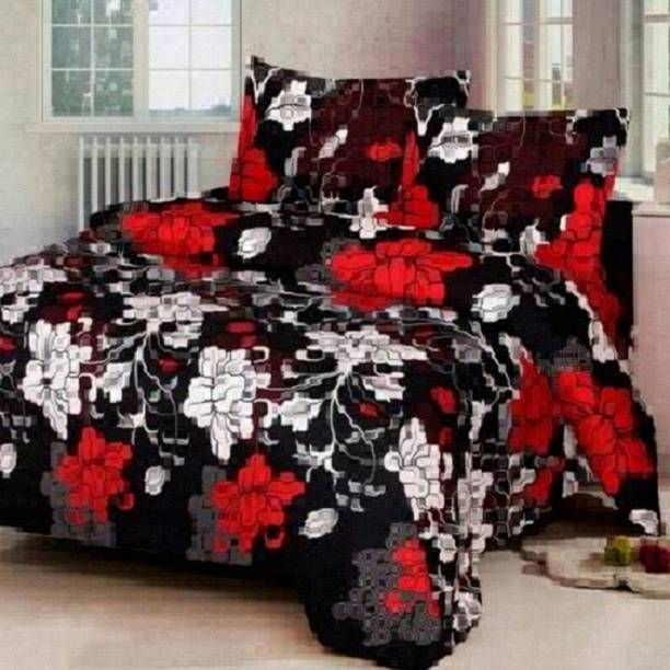 Home Garage 140 TC Microfiber Double 3D Printed Bedsheet