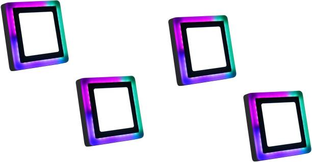 D'Mak 9 Watt Square Surface Dual Multi Color PGB (Pink,Green,Blue) LED Panel Light White+Pgb Lamp Downlight AC 100-265V Lights with IC Driver Energy Super Saver (9.00 Watts) | led color panel light | (Pack OF 04) Flush Mount Ceiling Lamp