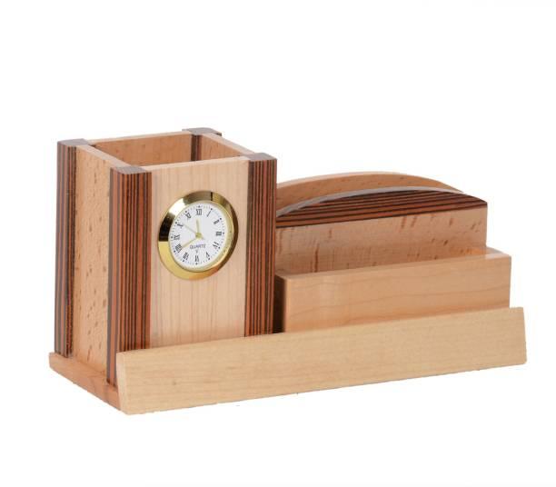 Shivom Crafts 3 Compartments WOODEN PEN HOLDER CARD HOLDER CLOCK