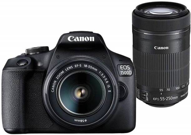 Canon EOS 1500D DSLR Camera 1 Camera Body, 18 - 55 mm Lens, 55 - 250 mm Lens, Battery, Battery Charger, USB Cable