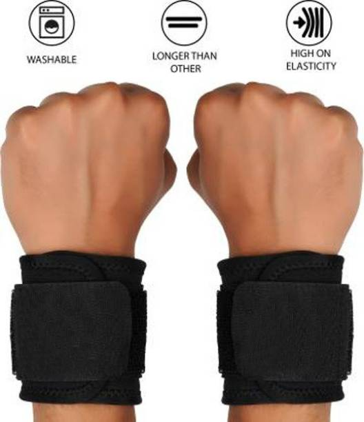 GymWar WRIST SUPPORT BLACK (Pair) Hand Grip/Fitness Grip