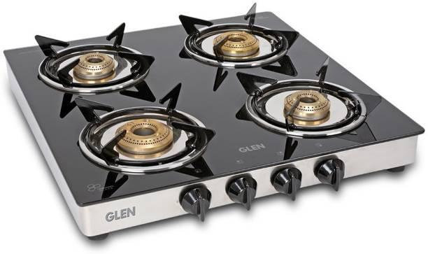 GLEN 1040 SS BB Junior ISI Certified 55 cm Brass Burner Glass Manual Gas Stove