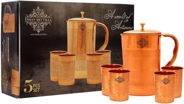 IndianArtVilla Gift Set of Copper Luxury Jug & 4 Glass,Diwali Gift Pack Jug Glass Set