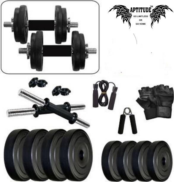 APTITUDE 20 KG PVC Dumbbell Set Combo With Accessories For Home Exercise Adjustable Dumbbell
